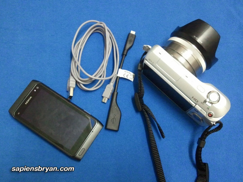 Подключение Nokia N8 к фотокамере Sony NEX3 при помощи USB OnTheGo