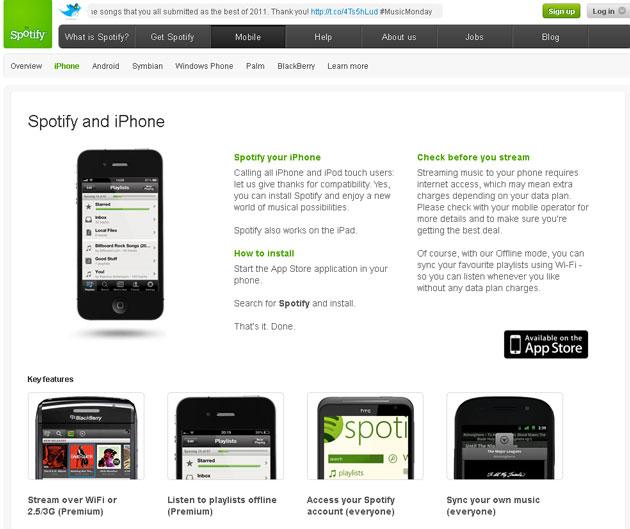 Сервис Spotify для iPhone