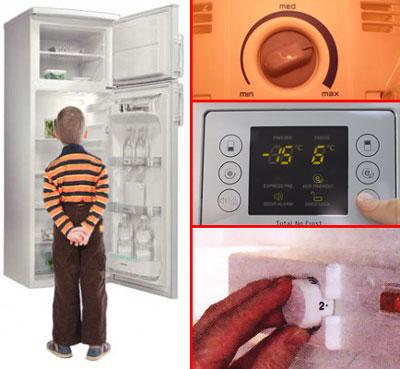 Дети и холодильник с регулятором (справа различные типы регулировки)