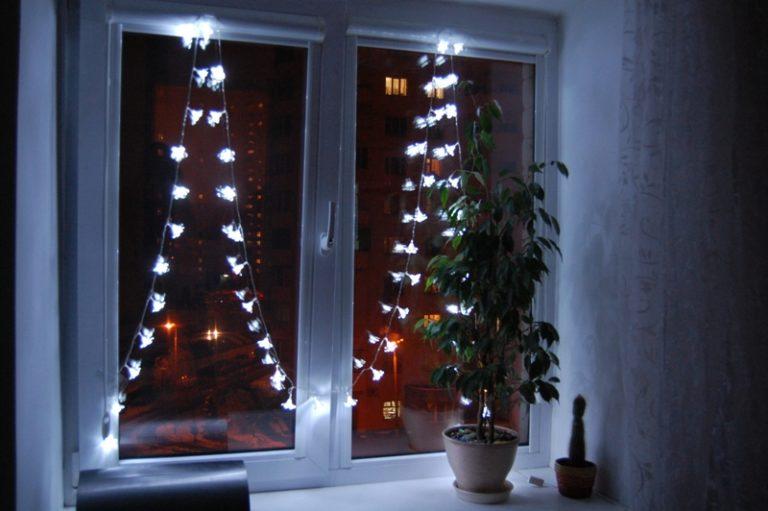 Новогодние гирлянды своими руками на окно