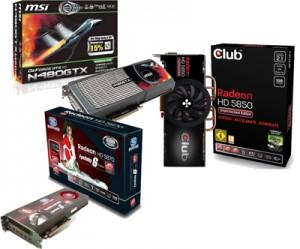 Видеокарты GeForce GTX 480, Radeon HD 5850 и HD 5870