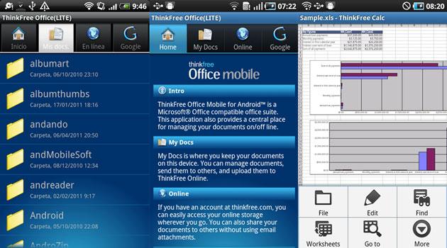 Интерфейс программы ThinkFree Office Mobile