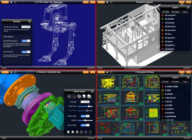 Скриншоты чертежей в TurboViewer Pro установленной на iPad