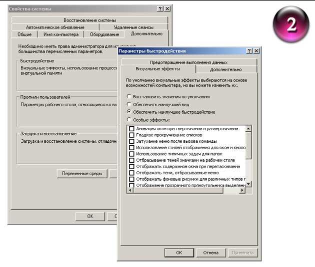 """Пункт - """"Быстродействие: визуальные эффекты, использование процессора, оперативной и виртуальной памяти"""""""