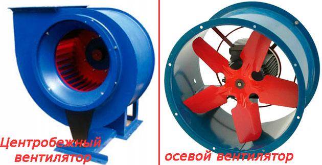 Осевой и центробежный вентиляторы