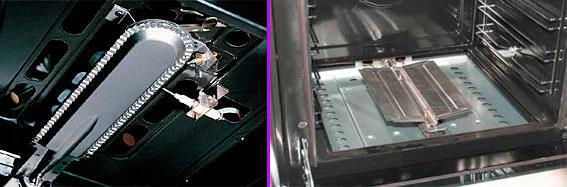 Верхняя и нижняя горелки газовой духовки