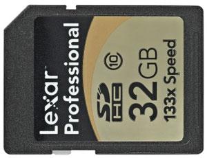 Карта памяти - Lexar SDHC Professional 133x 32Gb пригодная для работы с цифровой фотокамерой
