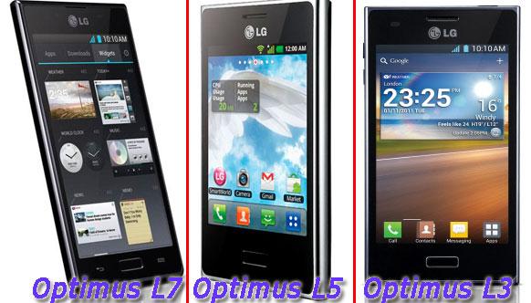 Линейка смартфонов LG Optimus 2012 года