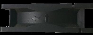 Маркировка на корпусе кулера указывающая на направление вращения и направление потока воздуха