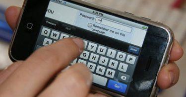 Набор текста на тачскрине iPhone