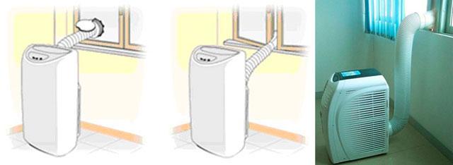 Вывод шланга мобильного кондиционера в отверстие в оконном стекле