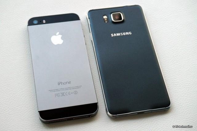 Samsung Galaxy Alpha по сравнению с яблоком